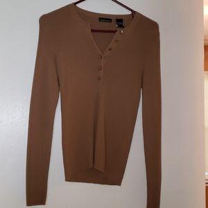 Moda International tan long sleeve sweater